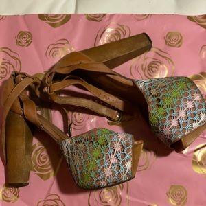 Jeffrey Campbell wooden platform heels  US 8.5